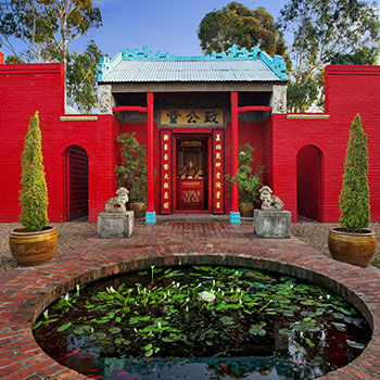 Bendigo Joss House Temple building and fish pond
