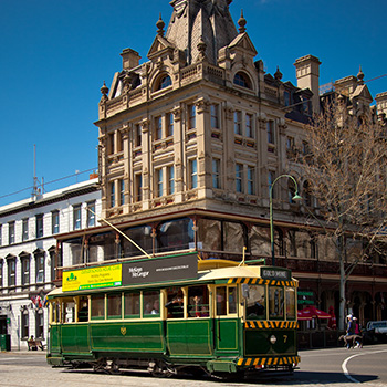 Vintage Talking Tram Number 7 passing the Shamrock Hotel Bendigo